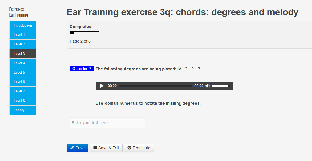 New questions exercise Ear Training Degrees and melody level 2 and level 3