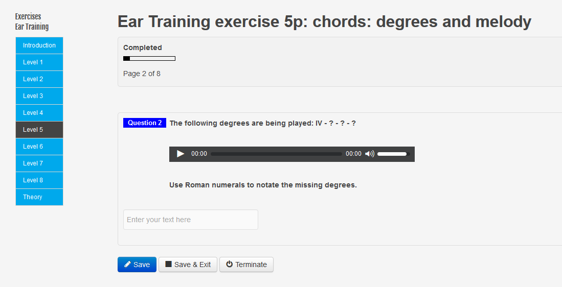 New questions exercise Ear Training Degrees and melody level 4, level 5 and level 6